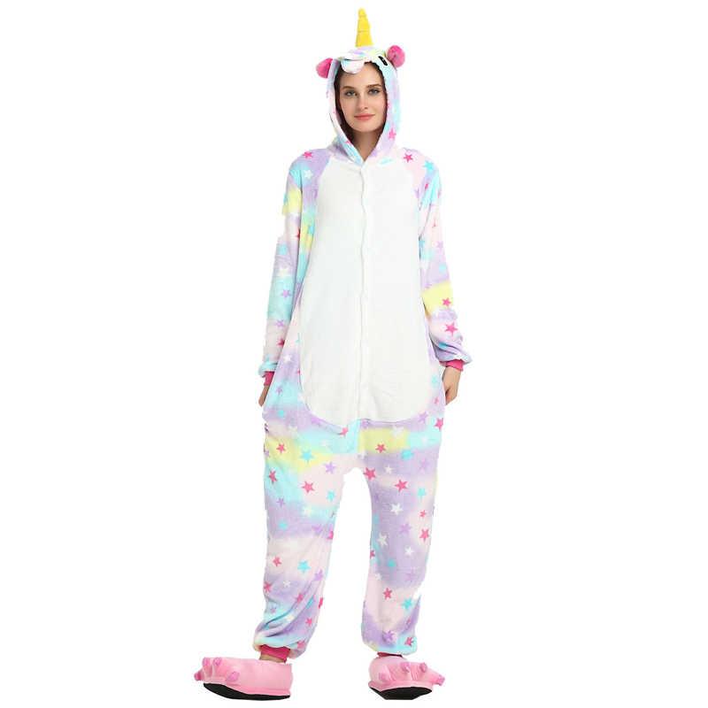 ... 2018 фланель животных женские пижамы для мужчин взрослых комбинезоны  Единорог панда стежка косплэй зимние теплые пижамы ... 31f0a8d18bb4d