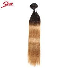 Sleek Ombre Brasilianische Haar Gerade 1B/27 Menschenhaar Weben Bundles Deal Zwei Ton Remy Haar 1 stück Schuss extensions 10 zu 30 zoll