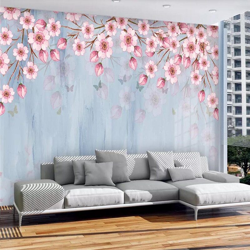 Warm peach butterfly blue tone rural wind TV background wall professional custom mural photo wallpaper high grade thick cloth in Fabric Textile Wallcoverings from Home Improvement