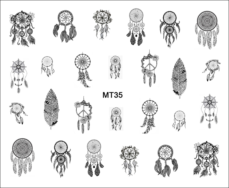1 Sheet Nail MT35 Black Dream Catcher Feather POP Nail Art Water Transfer Sticker Decal For Nail Art Tattoo Tips DIY Nail Tool 1 sheet water transfer nail art sticker decal galaxy space 3d print manicure tips diy nail foils decorations 8178