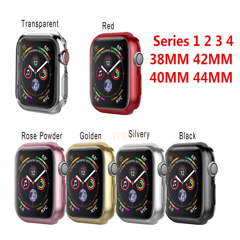 100pc Series 1 2 3 4 Soft Silicone Case for Apple Watch Cover 38mm 42mm 40mm