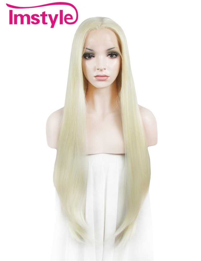 Imstyle Silky Straight Light blond 30 inches heat resistant Synthetic lace front long blonde wigs for women