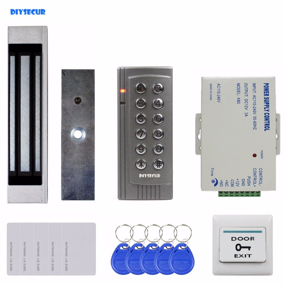 DIYSECUR 125KHz RFID EM Reader Password Keypad Door Access Control System Kit + 180kg Electric Magnetic Lock K4 diysecur touch panel rfid reader password keypad door access control security system kit 180kg 350lb magnetic lock 8000 users