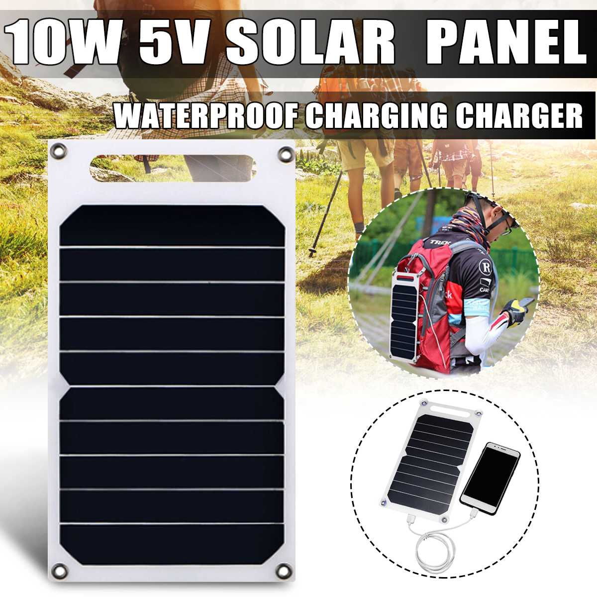 <font><b>5V</b></font> <font><b>10W</b></font> Waterproof <font><b>Solar</b></font> <font><b>Panel</b></font> Slim Light USB Charger Charging Portable Power Bank Pad Universal For Phone Lighting Car Charger image