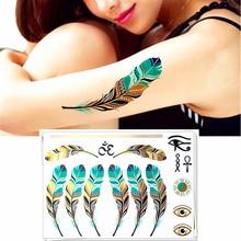 Emerald Golden Feathers Temporary Body Arts, Metallic Jewelry Flash Tattoo Sticker 21*15cm, Waterproof Henna Tatoo Sex Products