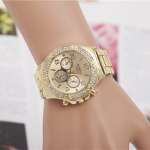 Luxury Brand Silver Gold Watches Women Rhinestone Dress Watches Ladies Stainless Steel Quartz Wristwatches reloj mujer AC022