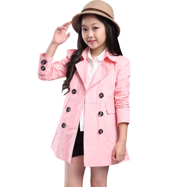 Kids Time-limited Solid Preppy Style Girls Broadcloth Full 2016 New Autumn Lady Boy Double-breasted Jacket Big Virgin Long Coat
