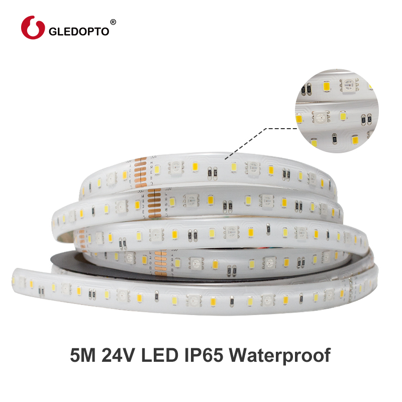 Gledopto RGB+CCT LED strip light rgb ww/cw DC24V 5 meters IP65 waterproof and IP20 not waterproof rgbcct light SMD 5050 SMD 2835