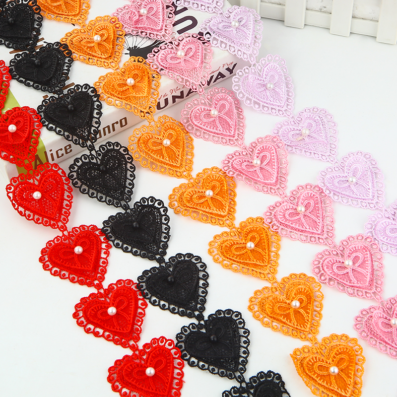 Water Soluble Latest Lace Trim Ribbon Fabric Heart Beaded DIY Coat Decoration Accessories Hand decorated Heart Ribbon Material in Lace from Home Garden