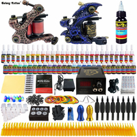 New Complete Kits Pro 2 Handmade Coil Tattoo Machine Power Supply Foot Pedal Needle Grips Tip
