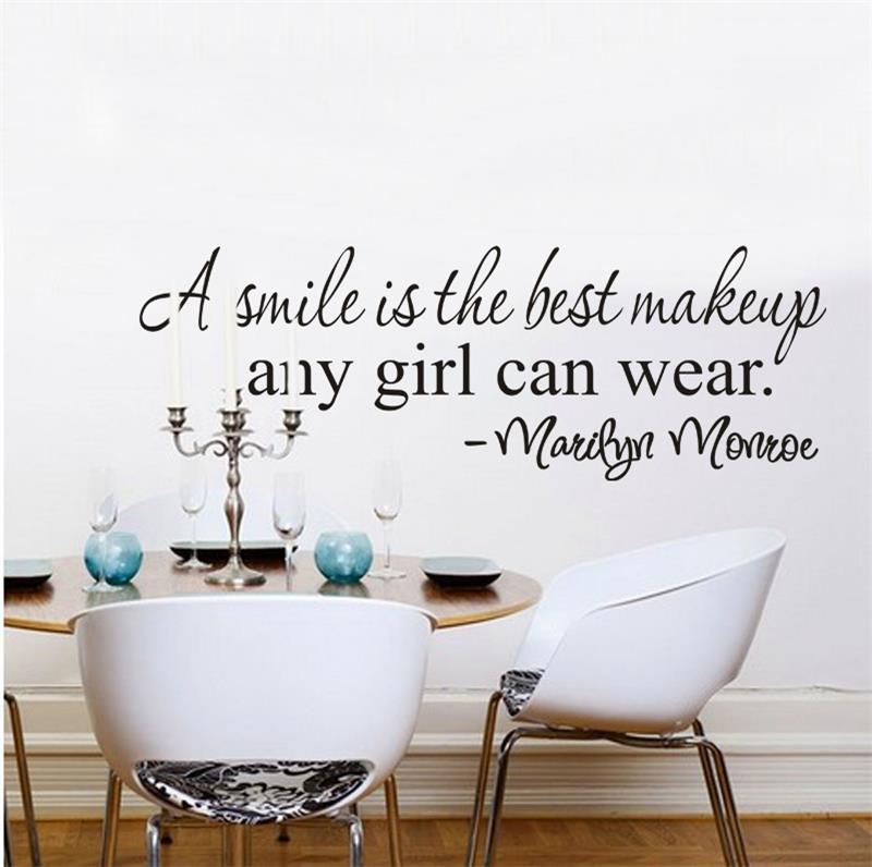 A Smile Is The Best Makeup Marilyn Monroe Inspirational Quote Wall Stickers 8129 Home Decor Vinyl Decal Room Mural Art 4 0 In From