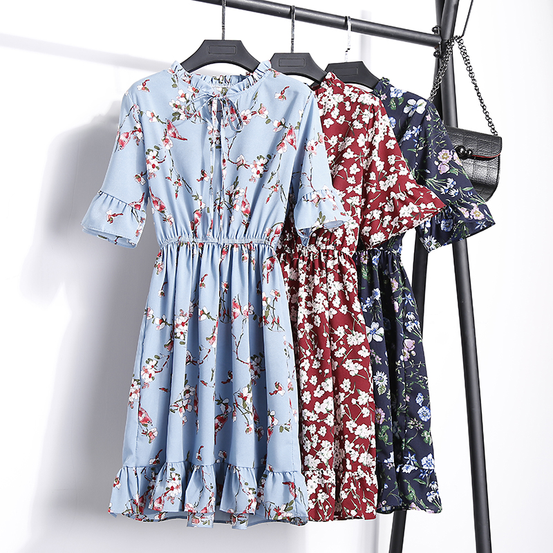 2018 Free Shipping New Fashion Floral Chiffon Summer Dresses Sweet Thin Word Slim Women Work Wear Print Dress Casual Cute Hot