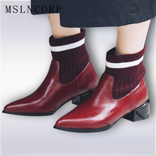 купить Size 34-43 Quality Soft Faux Leather Pointed Toe Flats Ankle Knitted Womens Shoes Fashion Style Chelsea Boots Motorcycle Boot дешево
