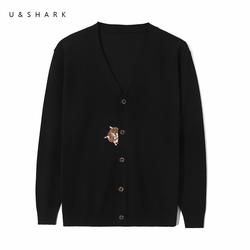 U&SHARK 2018 New Men Cardigan Sweater Cat Embroidery Breathable Cotton Knited Sweater Men Long Sleeve Spring Male Cardigans ...