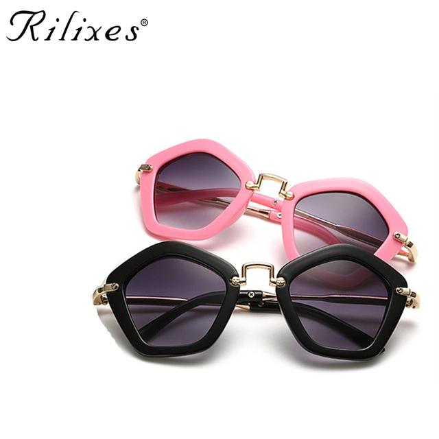 RILIXES Hipster Rivet Kids Sunglasses Children Sun Glasses Square Baby Sun-shading Eyeglasses UV400 Boys Girls Baby Goggles