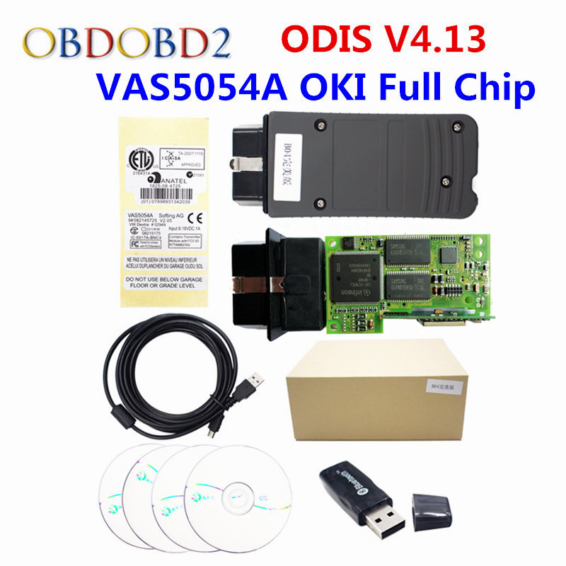 High Quality VAS5054A With OKI Full Chip Car Diagnostic Tool Support UDS Protocol VAS 5054A ODIS V4.13 Bluetooth For Audi For VW hot new xtuner e3 easydiag wireless obdii full diagnostic tool with special function pefect replacement for vpecker easydiag