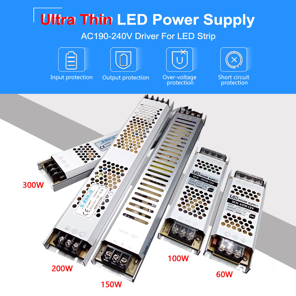 Ultra Thin LED Power Supply DC 12V 24V 60W 100W 150W 200W 300W Lighting Transformers AC 190 240V LED Driver LED Strip Laboratory in Lighting Transformers from Lights Lighting