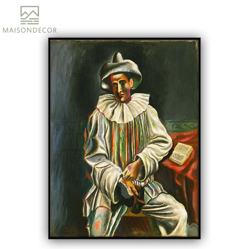 US $5 82 |Famous Painter Pablo Picasso Figure Painting Clown Oil Painting  Replica Prints On Canvas Decor Art For Bedroom DIY Frame-in Painting &