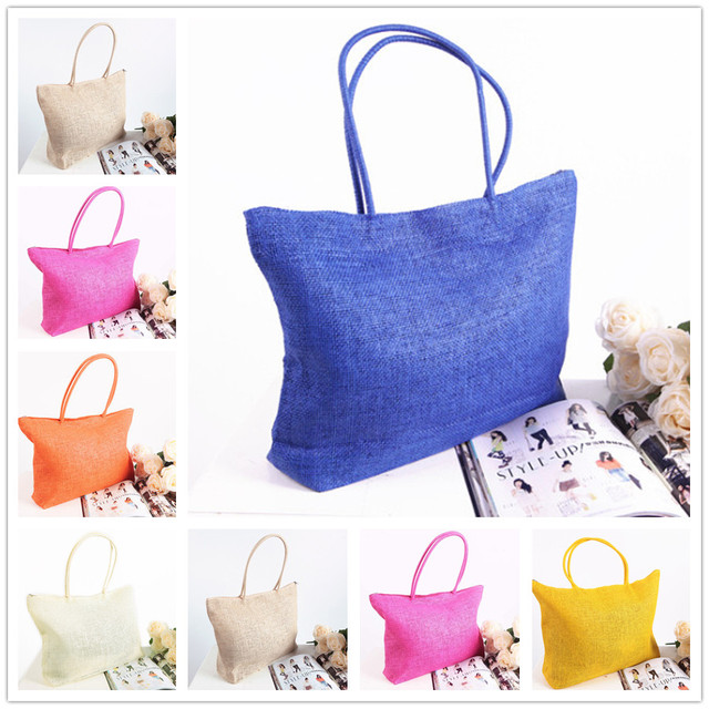 c07698abb0 2015 Casual fashion women bag Beach Bags women Straw Summer Weave Woven  Shoulder Tote Handbag shopping bag bolsas feminina gift