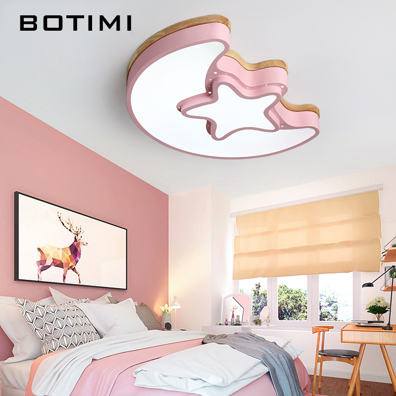 BOTIMI Kids LED Ceiling Lights With Iron Lampshade For Bedroom Pink Girls Room Ceiling Lamp Children Surface Mounted Luminare