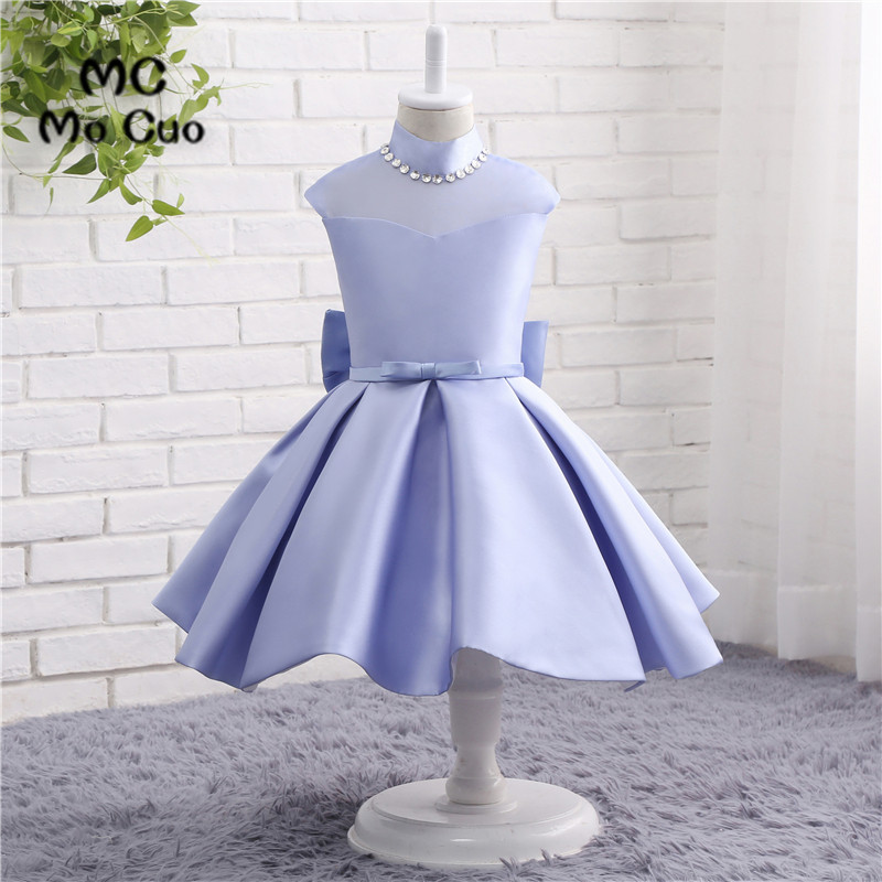 Flower     Girl     Dresses   Ball Gown Cap Sleeves High Neck Crystals Bow Wedding Pageant First Communion   Dresses   for Little   Girls