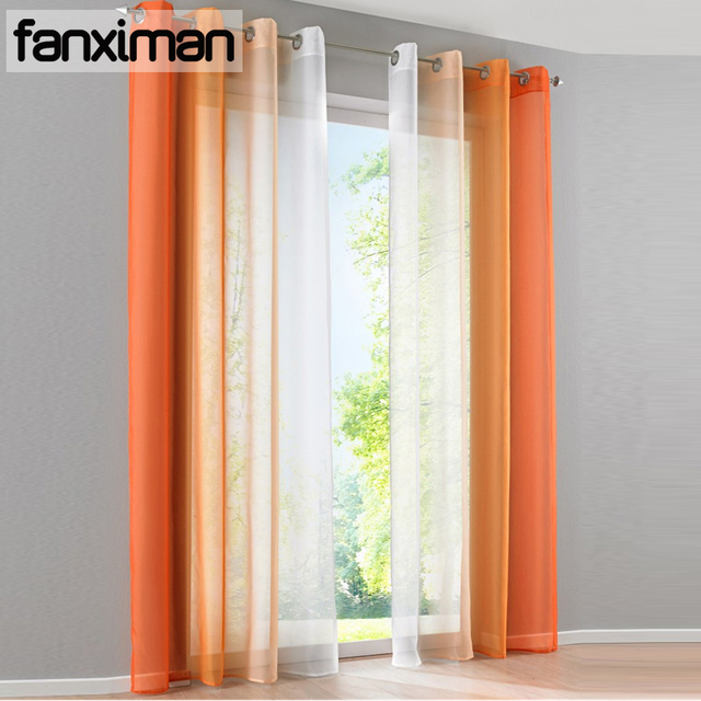 2pcs Pack Gradient Color White Sheer Curtains Voile Tulle Window