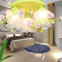 Цветок розы подвесной светильник led облако матовым стеклянным абажуром поглощают простой ужин лампа гостиная спальня лепестки лампы zl360