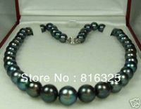 FREE SHIPPING 9 10mm Black Tahitian Cultured Pearl Necklace 18 AAA A0322