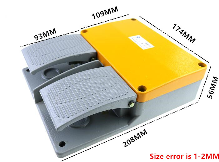 YDT1-16 AC 380V 6A aluminum yellow double with KH9011 core silver point foot pedal switch MD6-L02YDT1-16 AC 380V 6A aluminum yellow double with KH9011 core silver point foot pedal switch MD6-L02