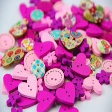 100pcs DIY 15mm Pink Purple Color Mix Shapes Wood Button Sewing Craft 2 Holes Wooden Buttons Clothes Scrapbooking Decor 40g(China)