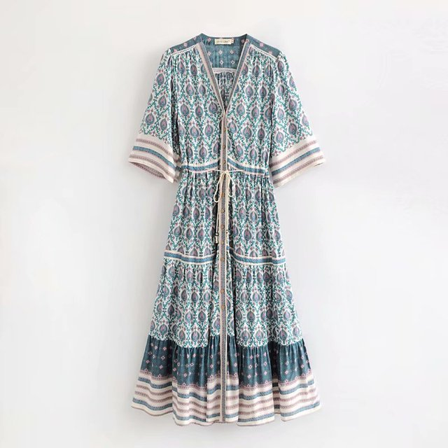 02ffc76fa34 Bohemian Maxi Dress Women Chic Boho Floral Print Belted Loose Beach Party  Dresses Vintage Female Robes