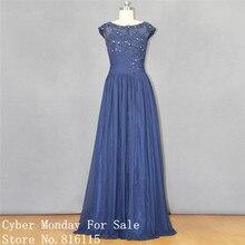 Vintage marineblau Lange Abendkleider Fashion Flügelärmeln Spitze Appliques formale Abendkleid Frauen Abend Party Kleider Vestidos