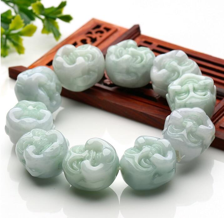 Excellent 100% A Grade Natural /Jadeite Buddha Head Beads Elastic line BraceletExcellent 100% A Grade Natural /Jadeite Buddha Head Beads Elastic line Bracelet
