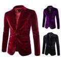 Mens Borgoña Velvet Blazer Traje Hombre Púrpura Negro Adapta A La Chaqueta de Pana De Los Hombres de Moda Casual Un Botón de la Chaqueta M-XXL