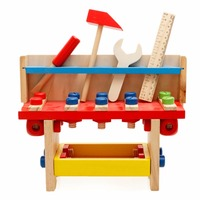 Kids Small Wooden Project Workbench Pretend Play Wood Toy Baby Wooden Toys Educational Multifunction Assembly Tool