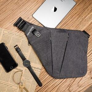 Image 5 - NewBring siyah tek omuz çantaları erkekler için su geçirmez naylon Crossbody çanta erkek anti hırsızlık göğüs çantası