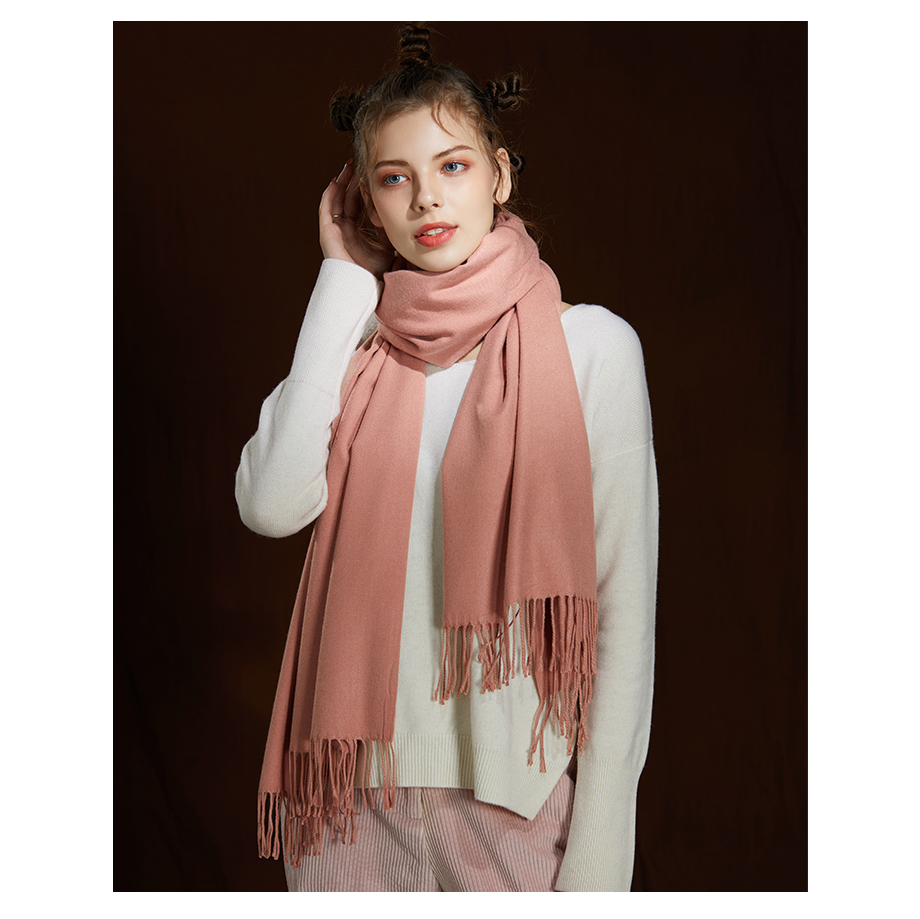 Winter Large Tassel Scarf 180cm65cm 23 Colors Wool Knitted Scarves 2019 Autumn 100% Cashmere Long Solid Scarf Women Warm Shawl (25)