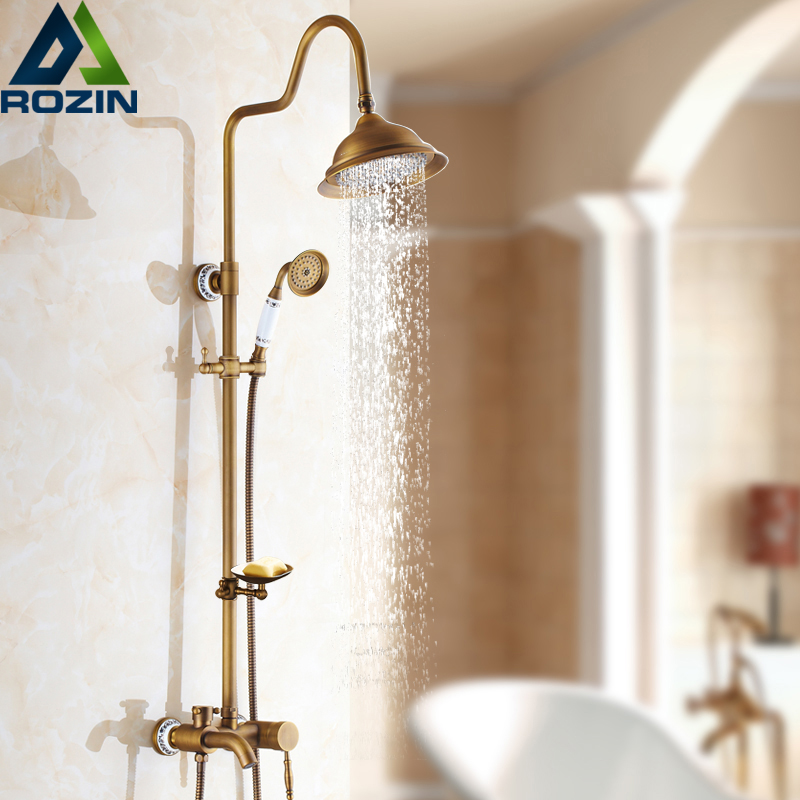Antique Brass Shower Mixer Faucet with Soap Dish Holder Wall Mount Bath Shower Set Rainfall 8 Shower head with handshower shower faucet wall mounted antique brass bath tap swivel tub filler ceramic style lift sliding bar with soap dish mixer hj 67040