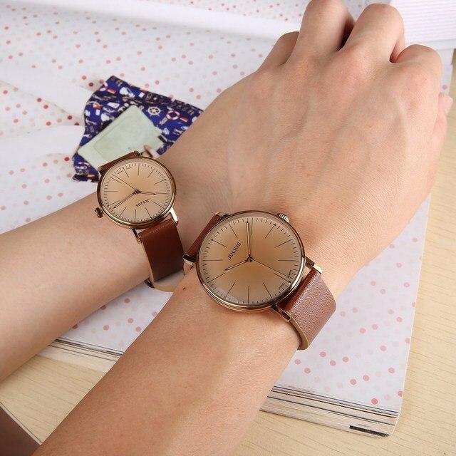 JULIUS Casual Lovers Watch Men Women Dress Wristwatch Leather Strap Sport Quartz Watch Clock Reloj Hombre Relogio Masculino