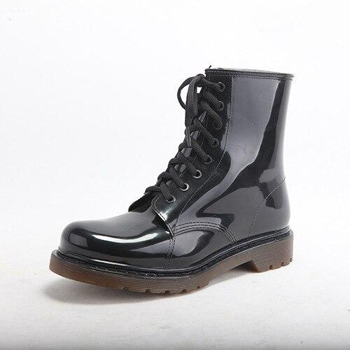 Мода Прозрачный Короткие мужчины Резиновые Сапоги Водонепроницаемые Модные Желе Мужчин Лодыжки Дождь Загрузки Резинка Твердые Цвет Черный Мужской Обуви