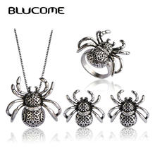 Blucome Vintage Spider Shape Insect Pendant Necklace Earrings Ring Jewelry Sets For Lady Women Man Bijoux French Hooks Earrings(China)