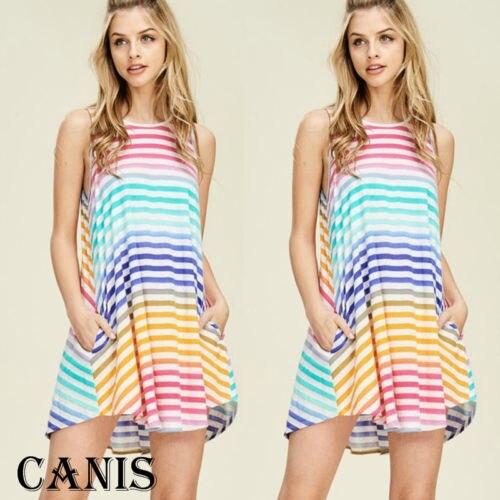 Fashion Women Summer Sleeveless Gradient Dress Evening Party Dress Short Mini Sundress