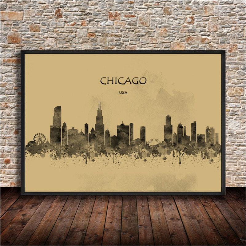 Abstract City Painting CHICAGO USA Krafts Paper Watercolor Print Poster Wall Sticker Living Room Cafe Bar