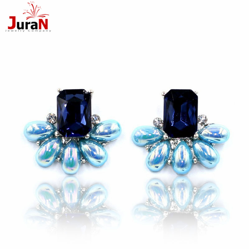 JURAN Wonderful 3 Colour Wholesale New 2018 Fashion Jewelry Hot Sale Women Crystal Earrring Statement Stud Earring P2201