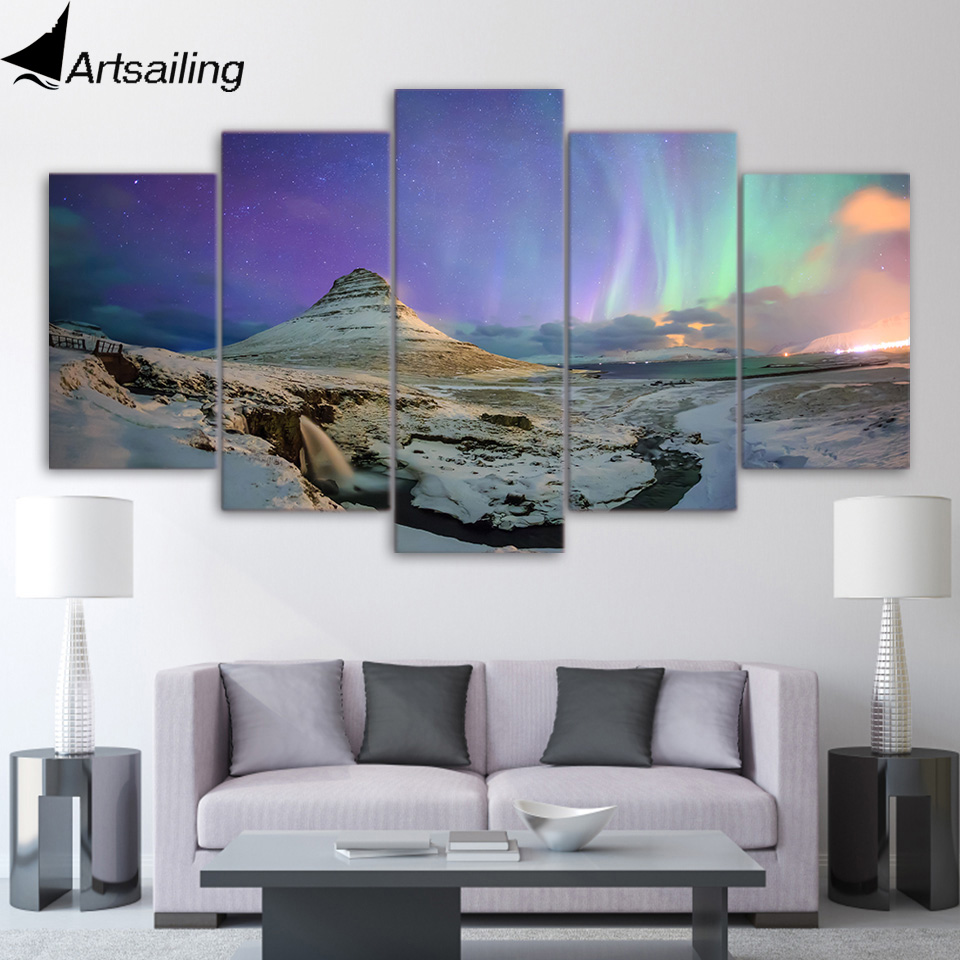 5 Piece Canvas Art HD Print Home Decor Northern Lights