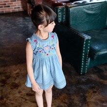Filles robes d'été 2017 Coréen Brodé denim robe enfants vêtements enfants de vêtements Q218