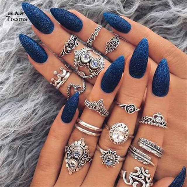 Tocona 16pcs/Set Bohemia Heart Flower Rhinestone Carved Knuckle Midi Rings Set f