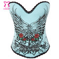 Azul Floral de Algodão Estampado & Strass Gótico Espartilho Push Up Burlesque Espartilhos e Corpetes Corpetes E Espartilhos Sensuais Korset