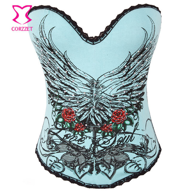 ab702cee09f Blue Cotton Floral Printed   Rhinestones Gothic Corset Push Up Burlesque  Corsets and Bustiers Corpetes E
