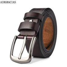 AIRGRACIAS 2018 cinturones hombres de alta calidad correa de cuero genuino  de hombre de estilo militar Pin hebilla cinturones . 3d9a2af04967